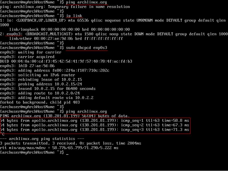 Скриншот терминала с удачным пингом после команды dhcpcd command