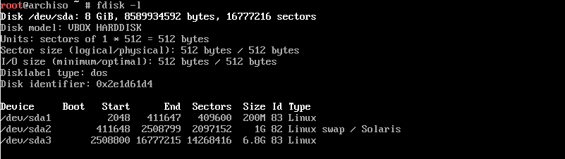 Скриншот терминала с результатом команды fdisk -l после разбиения разделов