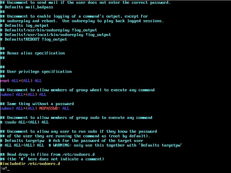 Открытое в vim cодержимое файла /etc/sudoers